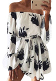 White-Black Floral Print Drawstring Pleated Boat Neck Off-Shoulder Flare Sleeve Mini Dress
