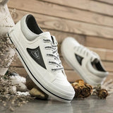 White-Black Round Toe Flat Casual Canvas Shoes