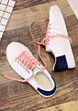 White-Blue Round Toe Flat Lace-up Casual Shoes
