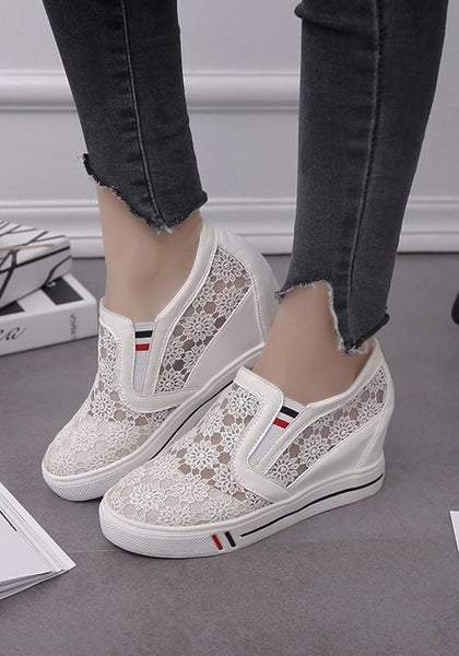 White Flat Within The Higher Hollow-out Casual Shoes