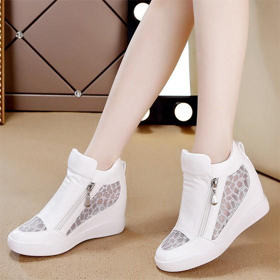 White Flat Within The Higher Zipper Grenadine Casual Shoes