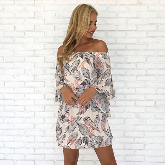 White Floral Cut Out Boat Neck Long Sleeve Mini Dress