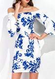 White Floral Print Backless Flare Sleeve Off Sholder Elegant Mini Dress