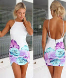 White Flowers Print Spaghetti Strap Backless Bodycon Dress