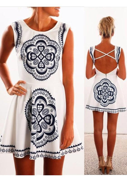 White Geometric Print Round Neck Bohemian Mini Dress
