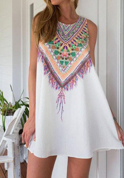 White Geometric Print Ethnic Round Neck Sleeveless Halter Bohemian Ethnic Chiffon Mini A-Line Dress
