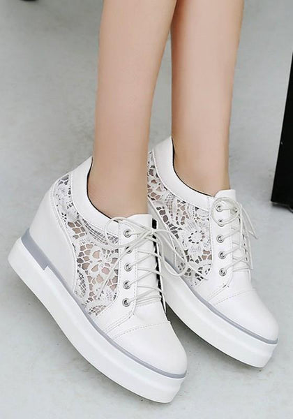 White Heavy-Soled Within The Higher Lace Stitching Casual Shoes