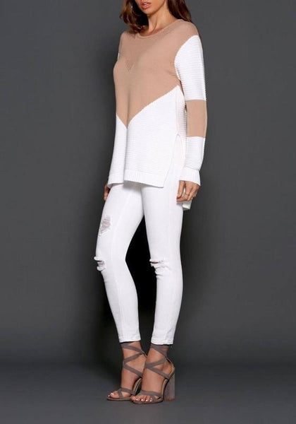 White Patchwork Hollow-out Round Neck Long Sleeve Sweater