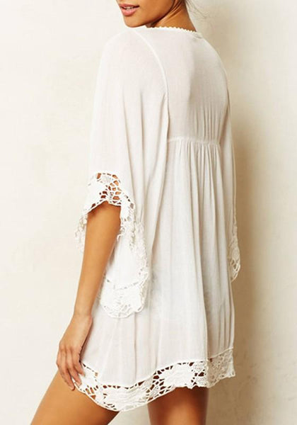 White Patchwork Lace Cut Out 3/4 Sleeve Casual Mini Dress