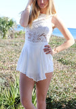 White Patchwork Lace Cut Out Draped Sleeveless Mini Dress
