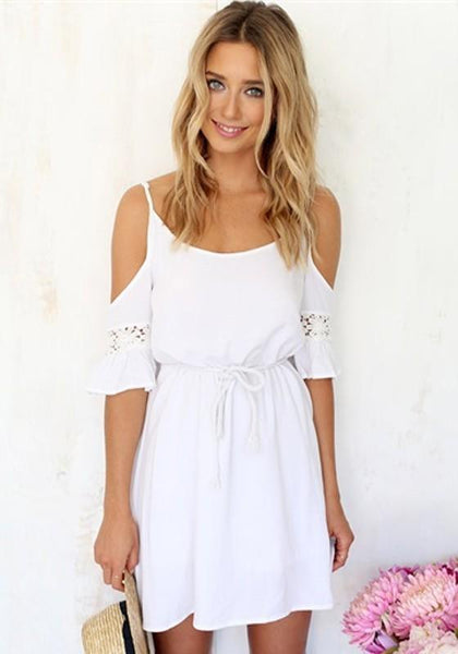 White Patchwork Lace Drawstring Off-The-Shoulder Spaghetti Strap Short Sleeve Sweet leisure Boho Dress