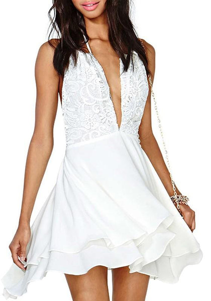 White Patchwork Lace Hollow-out Backless Halter Neck Mini Dress