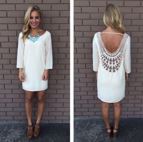 White Patchwork Lace Hollow-out Backless Casual Hippie Loose Dress