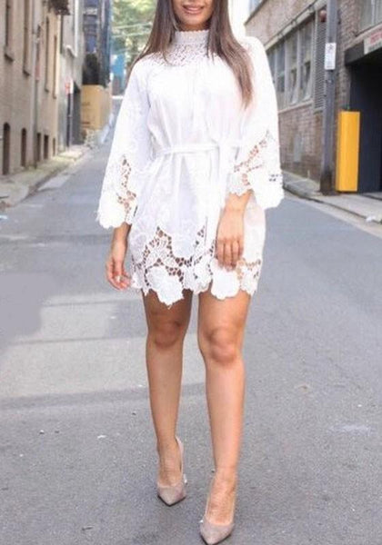 White Patchwork Lace Hollow-out Sashes Band Collar 3/4 Sleeve Elegant Mini Dress