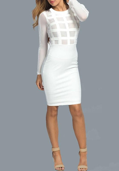 White Patchwork Plaid Grenadine See-through Clubwear Bodycon Mini Dress