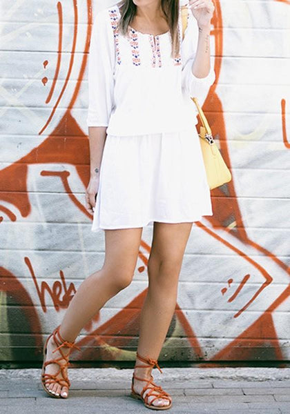 White Patchwork Round Neck Long Sleeve Mini Dress
