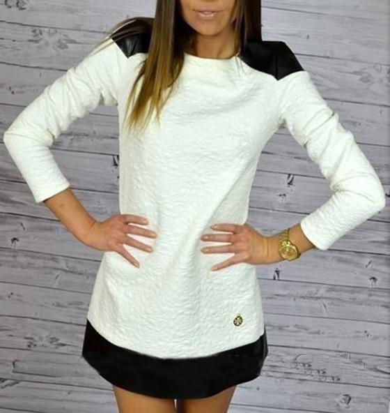 White Patchwork Single Button PU Leather Cotton Mini Dress