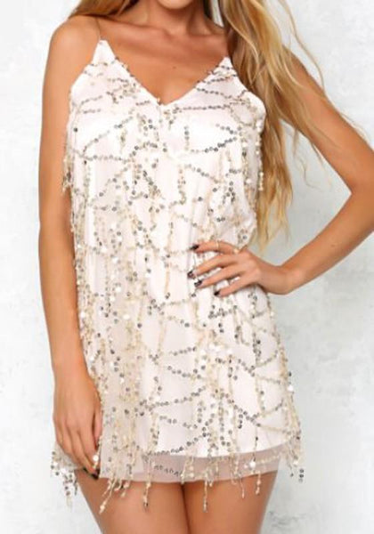 White Plain Condole Belt Sequin Sleeveless Party Polyester Mini Dress