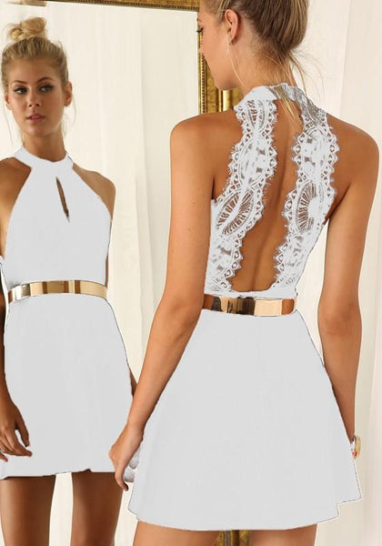 Ivory White  Cut Out Lace Fashion Mini Gown Dress