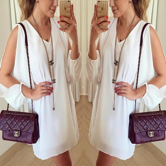 White Plain Cut Out V-neck Loose Casual Mini Dress