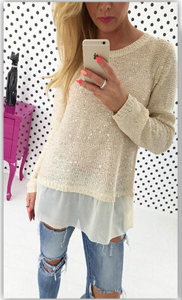 White Plain Double-deck Collarless Round Neck Pullover Sweater