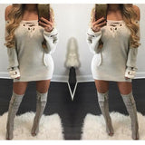 White Solid Lace-Up Metal Grommets V-neck Knitted Sweater Mini Dress