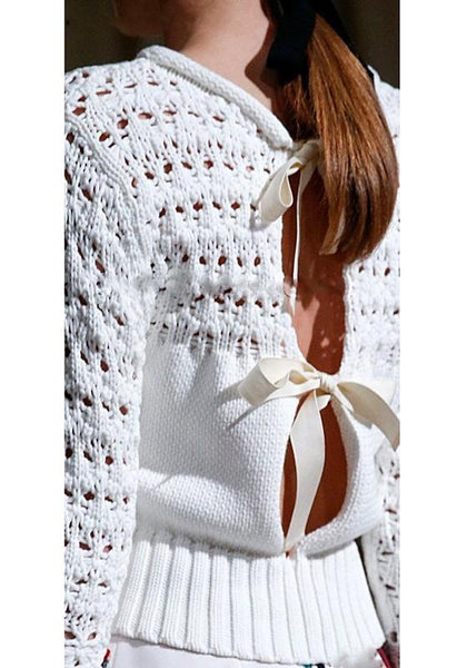 White Plain Hollow-out Bow Backless Round Neck Pullover Sweater
