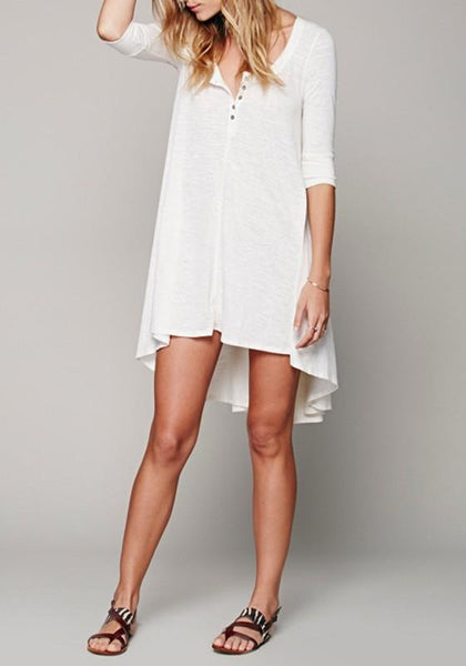 White Plain Irregular V-neck Elbow Sleeve Casual Loose Boho Mini Dress