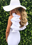 White Plain Ruffle Backless Round Neck Sleeveless Mini Dress