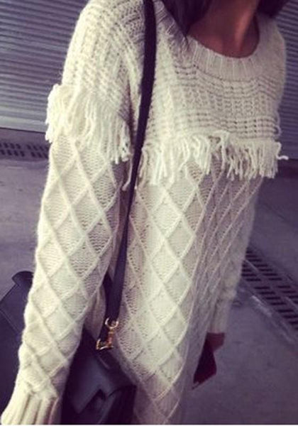 White Plain Tassel Round Neck Pullover Fashion Sweater