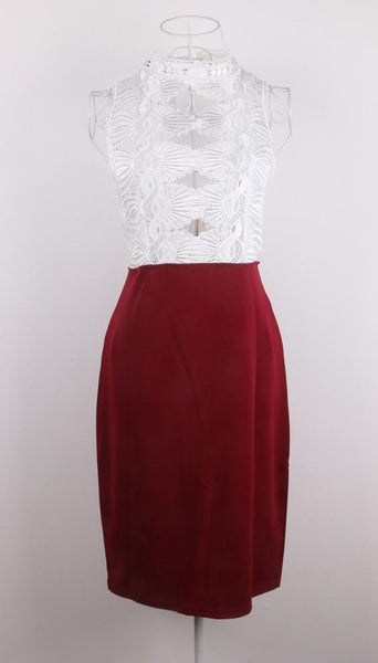 White-Red Patchwork Hollow-out Lace Sleeveless Fashion Mini Dress