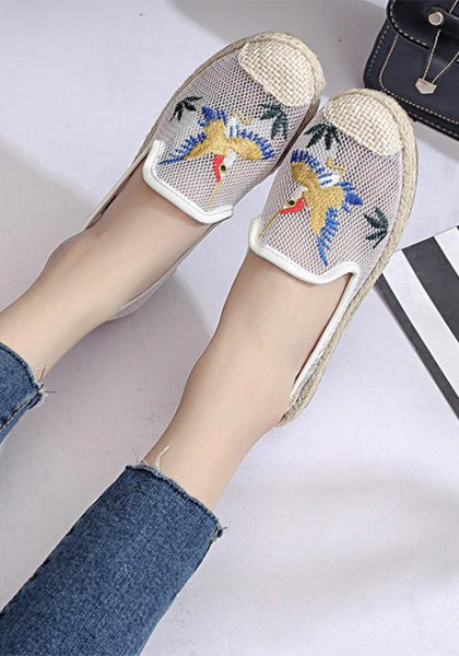 White Round Toe Casual Grenadine Floral Print Flat Shoes