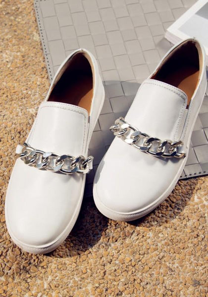 White Round Toe Chain Casual Flat Shoes