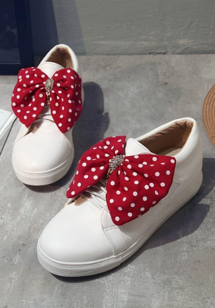 White Round Toe Flat Big Bow Cute Shoes