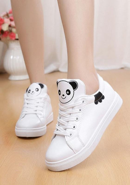 White Round Toe Flat Cartoon Pattern Casual Shoes