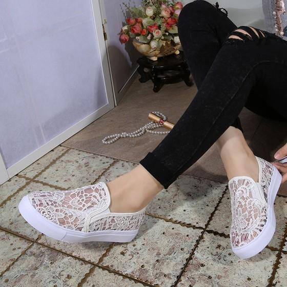 White Round Toe Flat Casual Ankle Mesh Shoes