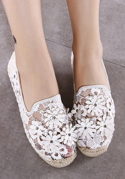White Round Toe Flat Casual Mesh Shoes