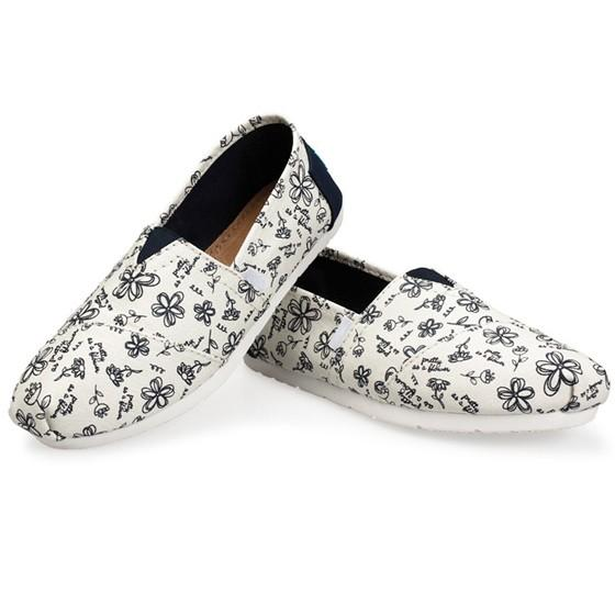 White Round Toe Flat Floral Print Casual Ankle Shoes