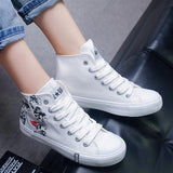 White Round Toe Flat Floral Print Casual Shoes