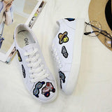White Round Toe Flat Lace-up Print Casual Shoes