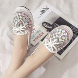 White Round Toe Flat Rhinestone Sequin Casual Shoes