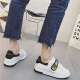 White Round Toe Flat Sequin Casual Shoes
