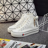 White Round Toe Lace-up Casual Canvas Shoes