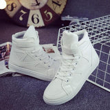 White Round Toe Lace-up Casual Cloth Shoes