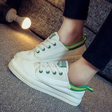 White Round Toe Patchwork Lace-up Casual Flat Shoes