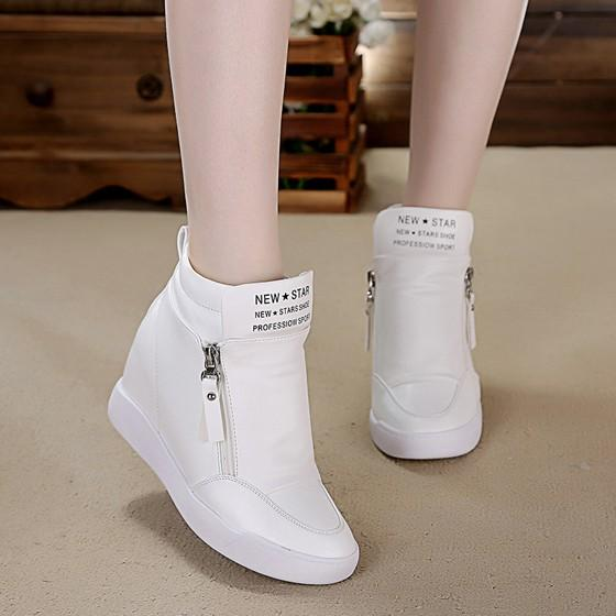 White Round Toe Zipper Heavy-Soled Casual Flat Shoes