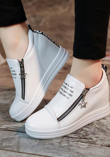 White Round Toe Zipper Wedges Casual Flats