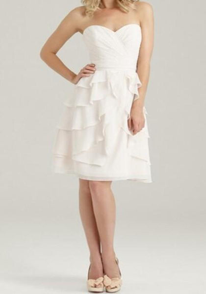 White Ruffle Bandeau Off Shoulder High Waisted Chiffon bridesmaid Mini Dress