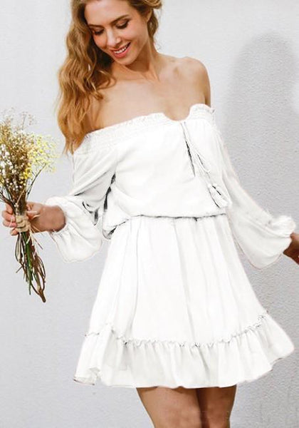 White Ruffle Tassel Bandeau Backless Off Shoulder Adjust Waist Homecoming Party Mini Dress
