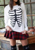 White Skeleton Round Neck Long Sleeve Casual Sweatshirt